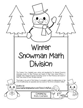 """Winter Snowman Math""  - Division - Common Core - Fun! (black line & color)"
