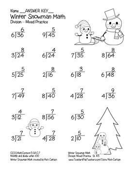 """""""Winter Snowman Math"""" Division - Common Core - Fun! (black line version)"""