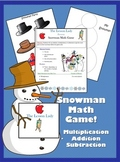 Winter Snowman Math Game - Addition, Subtraction or Multiplication!