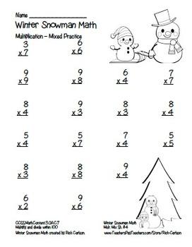 """Winter Snowman Math"" Mixed Multiplication - Common Core Fun! (blackline &color)"