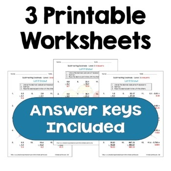 Winter Math: Subtracting Decimals Worksheets (Differentiated with 3 Levels)