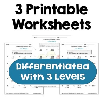 Winter Math: Subtracting Decimals Worksheets (Differentiated)