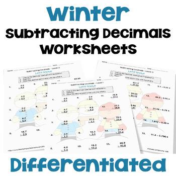Winter Math: Subtracting Decimals Worksheets (3 Levels)