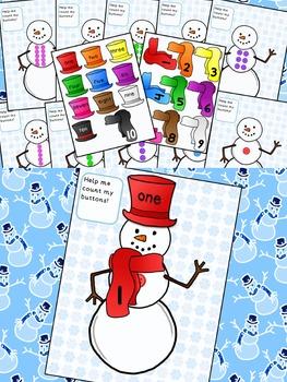 Winter Snowman Math and Literacy Center Activity BUNDLE