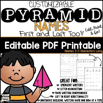 Name Recognition with Pyramid Name Writing. Low Prep Literacy Center; Editable