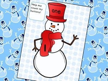 Winter Snowman Number Match Math Center Activity for Preschool
