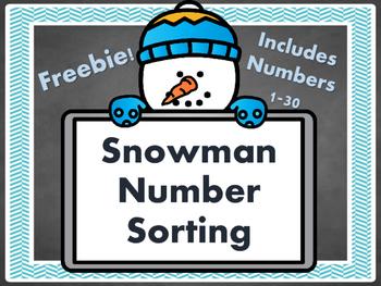 {Winter Snowman Number Sort FREEBIE!}