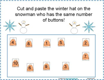 Winter Snowman Number Value Glue and Paste