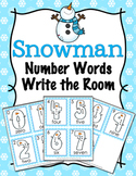 Winter Snowman Number Words Write the Room Activity