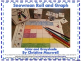 Winter Snowman Roll and Graph Using Cube Kleenex Box or Dice Template