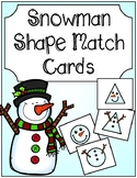 Winter Snowman Shape Match Cards
