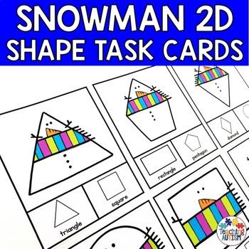 Winter Snowman Shape Recognition Task Cards