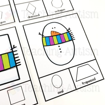 Winter Snowman Shape Recognition Task Cards