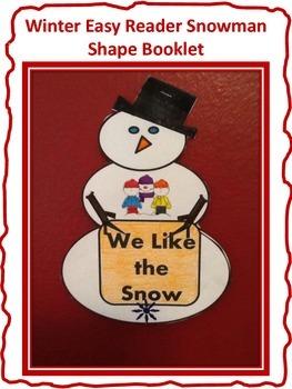 Winter Snowman Shaped Easy Reader