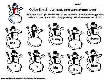 Winter Snowman Sight Word Practice Sheets