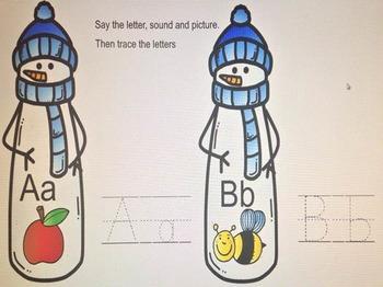 Winter Snowman Sight Word Smartboard