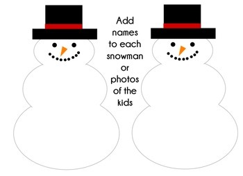 Winter Snowman Snowmen Writing Bulletin Board