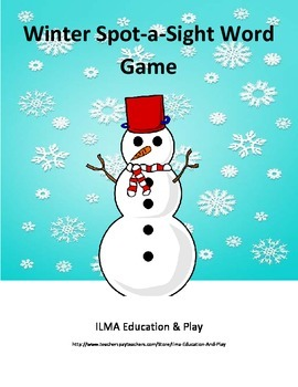 Winter Snowman Spot a Sight Word Game Dolch Words Pre-prim