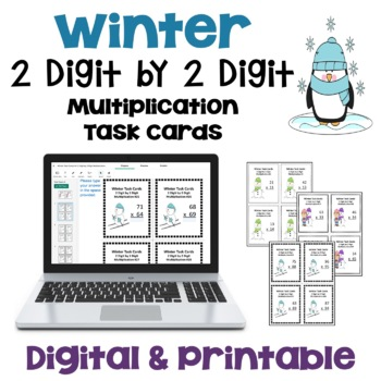 Winter and Snowman Task Cards: 2 Digit by 2 Digit Multiplication (3 Levels)