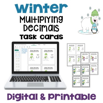 Winter Task Cards: Multiplying Decimals (Differentiated with 3 Levels)