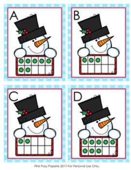 Winter Snowman Ten Frames Count the Room