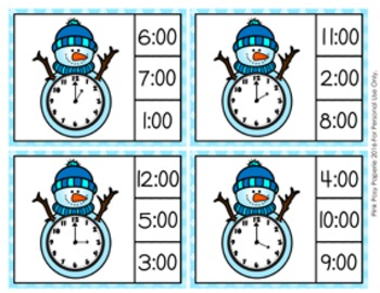 Winter Snowman Time to the Hour Clip Cards