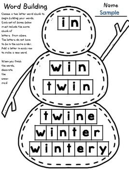 Winter Snowman Word Building