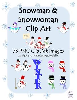 Winter Snowman and Snowwoman Clip Art (73 PNG Images)