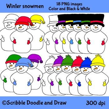 Winter Snowmen clipart