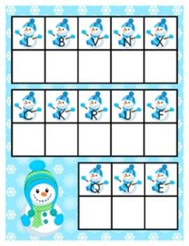Winter Snowmen Alphabet Matching Activity