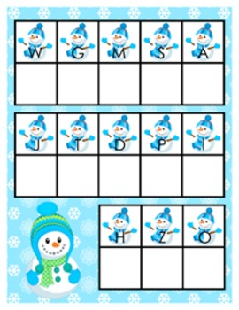 Winter Snowmen Alphabet Matching Activity