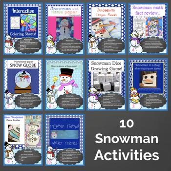 Winter Activities   January Activities- Snowman Bundle
