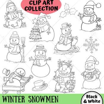 Winter Snowmen Christmas Clip Art (BLACK AND WHITE ONLY ...