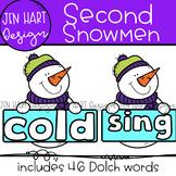 Winter Snowmen Clipart - Dolch Second Sight Word Clip Art