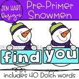 Winter Snowmen Clipart - Pre-Primer Sight Word Clip Art  {