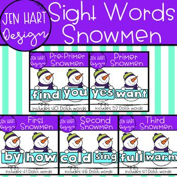 Winter Snowmen Clipart - Dolch Primer Sight Word Clip Art  {Jen Hart Clipart}