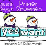 Winter Snowmen Clipart - Dolch Primer Sight Word Clip Art