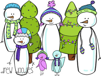 Winter Snowmen Digital Clip Art Set