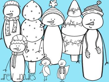 Winter Snowmen Digital Clip Art Set- Black Line Version