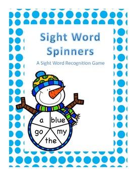 Winter Snowmen Sight Word Spinner Center: Pre-K Dolch Words