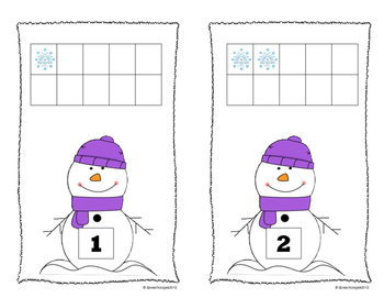 Winter Snowmen and Cocoa Mugs 10 Frame Counting Mats Bundle Set (1-20)