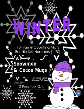 Winter Snowmen and Cocoa Mugs 10 Frame Counting Mats Bundl
