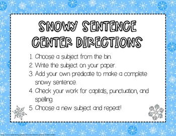Free Winter Sentence Center