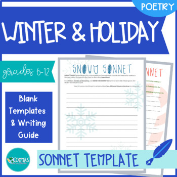 Snowy Winter & Christmas-Themed Sonnet-Writing Templates (2-Pack)