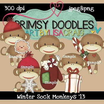 Winter Sock Monkeys 300 dpi Clipart