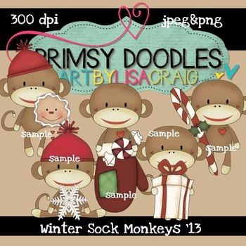 Winter Sock Monkeys 300 dpi Clipart