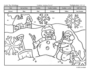 Winter Solstice Coloring Page by- Subitizing, Addition, Multiplication