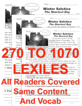 Winter Solstice FACTS Close Read 5 Levels Informational Text All Readers Covered