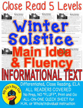 Winter Solstice FACTS Close Read 5 Levels Informational Te