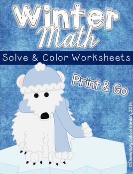 Winter Solve & Color Math Worksheets NO PREP Printables for 3rd and 4th grade